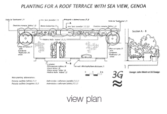 design plan for planting for a roof terrace with sea view Genoa Italy
